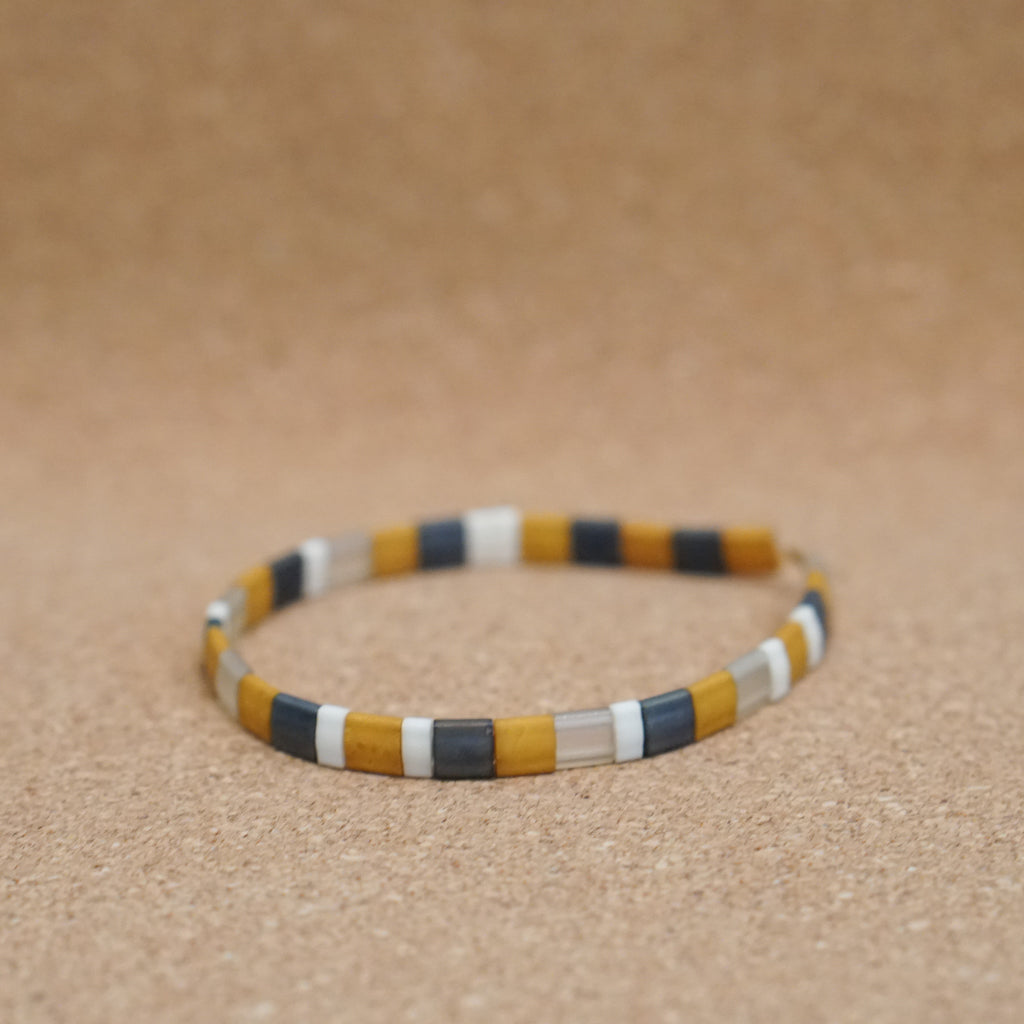 mustard & neutrals - stretch tile bracelet
