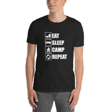 Load image into Gallery viewer, Eat, Sleep, Camp, Repeat Unisex T-Shirt - Crazy Rabbit Merch