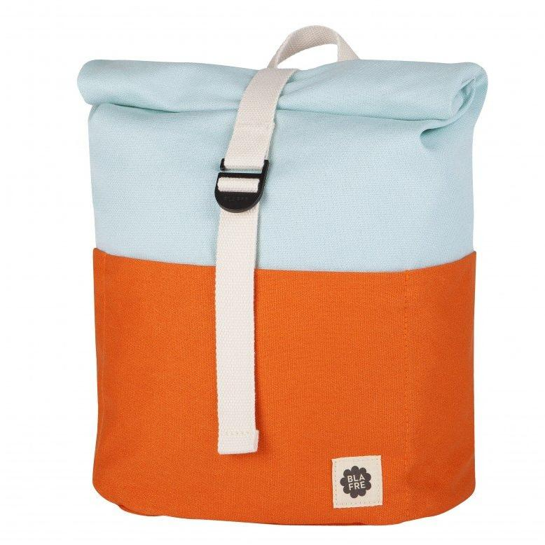 Blafre Roll Top Rugzak | Orange + Light Blue
