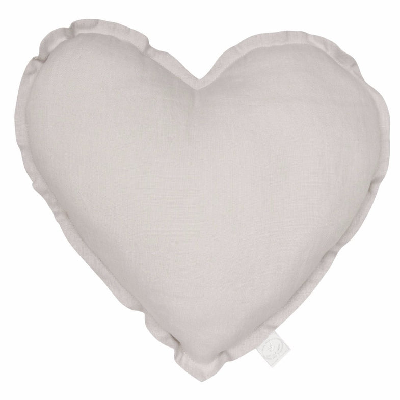 Cotton & Sweets Kussen heart Light Grey - DE GELE FLAMINGO - Kids concept store