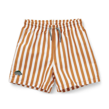 Liewood Duke Board Shorts | Stripe Mustard/ White