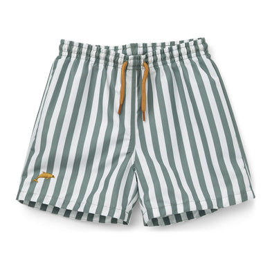 Liewood Duke Board Shorts | Stripe Peppermint/ White