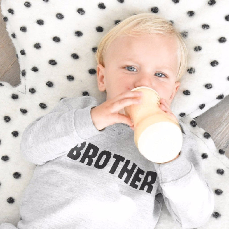 Finns Handmade Sweater grijs melee #brother - DE GELE FLAMINGO - Kids concept store
