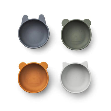 Liewood Iggy Silicone Bowls 4pack | Blue Mix