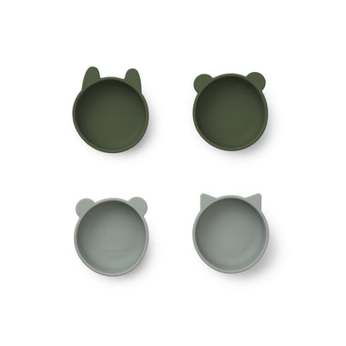 Liewood Iggy Silicone Bowls 4pack | Hunter Green Mix