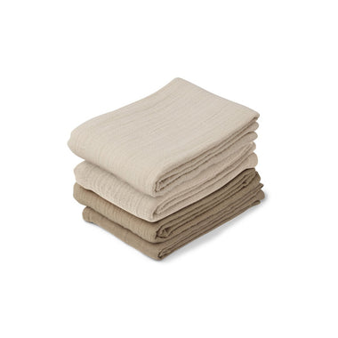 Liewood Leon set 4 hydrofiele doeken 60x60cm | Natural Sandy Mix