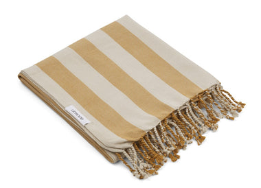 Liewood Mona Beach Towel | Stripe Mustard/ Sandy