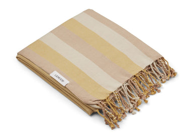 Liewood Mona Beach Towel | Stripe Peach/ Sandy/ Yellow Mellow