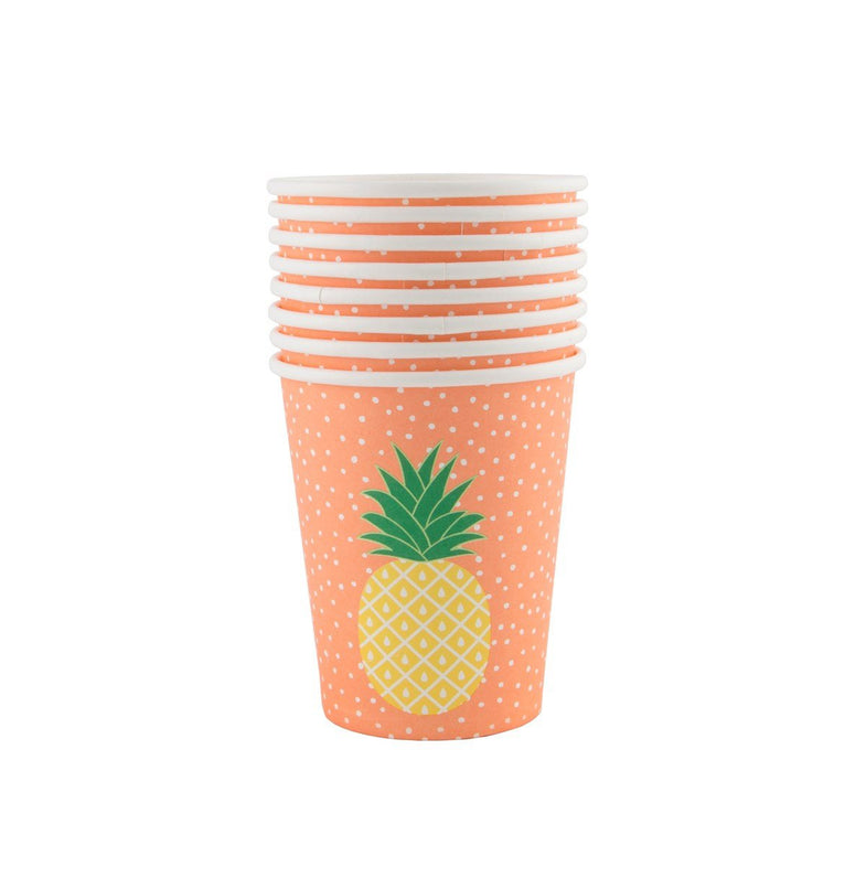 Set 8 kartonnen bordjes Pineapple - DE GELE FLAMINGO - Kids concept store
