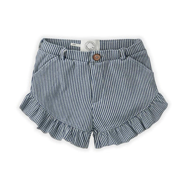 Sproet & Sprout Ruffle Short | Denim Stripe