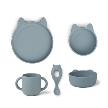Liewood Silicone Box Eetset Vivi | Rabbit Sea Blue