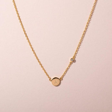 Galore Gepersonaliseerde Ketting Circle & Diamond | Gold Women