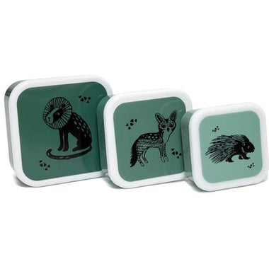 Petit Monkey Set 3 snack boxen Black Animals Salie