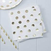 Set 20 papieren servetten Polka dot gold