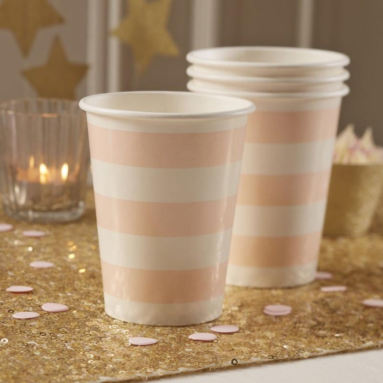 Set 8 kartonnen bordjes Pink & Gold - DE GELE FLAMINGO - 6