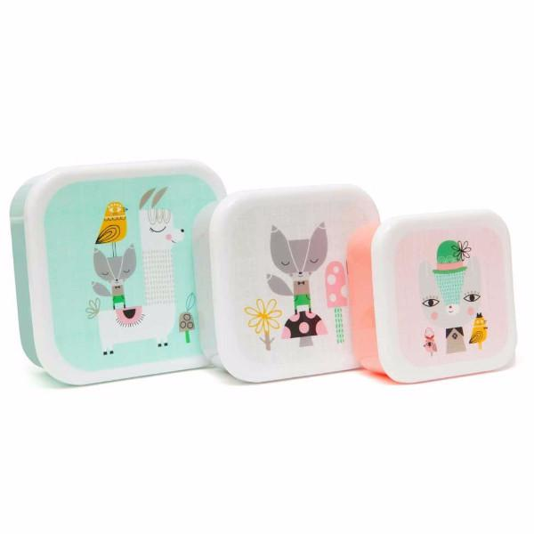 Set 3 snack boxen Lama and friends - DE GELE FLAMINGO - 1
