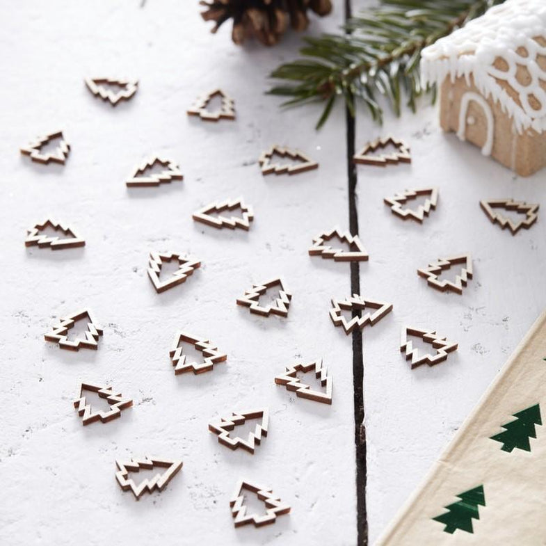 Wooden Christmas Tree Confetti - Rustic Christmas