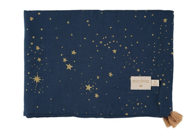 Nobodinoz dekentje 100x70cm Treasure summer blanket - Gold Stella / Night Blue