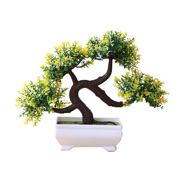 Yellow and Green Artificial Bonsai Plant