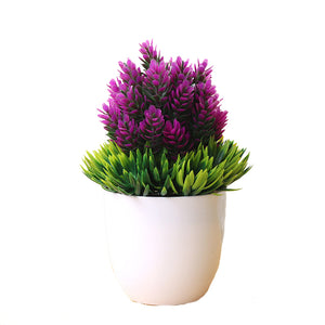 Purple and Green Artificial Bonsai Plant - Hansel & Gretel Home Decor