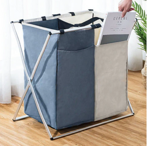 Modern White and Gray Foldable Laundry Basket - Hansel & Gretel Home Decor