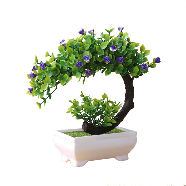 Blue and Green Artificial Bonsai Plant