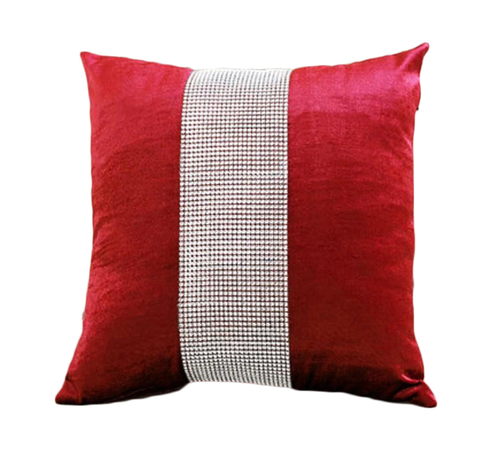 Diamond Fabric Red Decorative Pillow Case - Hansel & Gretel Home Decor