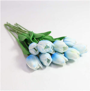 Blue Artificial Flowers Tulip Bouquet - Hansel & Gretel Home Decor
