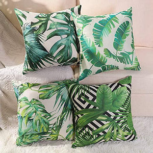 Tropical Green and White Decorative Pillow Case
