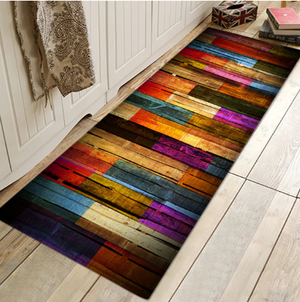 Multicolour Rainbow Wood Porch Carpet - Hansel & Gretel Home Decor