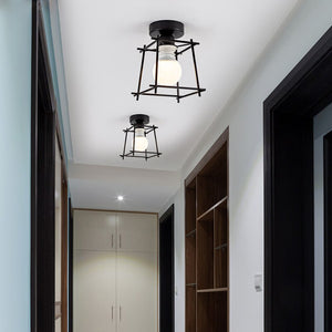 Decorative Ornamental Sculpture Wrought Iron Ceiling Lamps