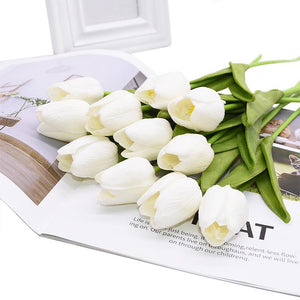 White Artificial Flowers Tulip Bouquet