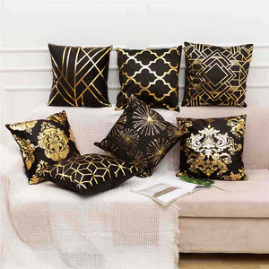 Elegant Black and Gold Decorative Pillow Covers - Hansel & Gretel Home Decor
