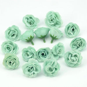 Green Artificial Flowers Spring Rose Head - Hansel & Gretel Home Decor
