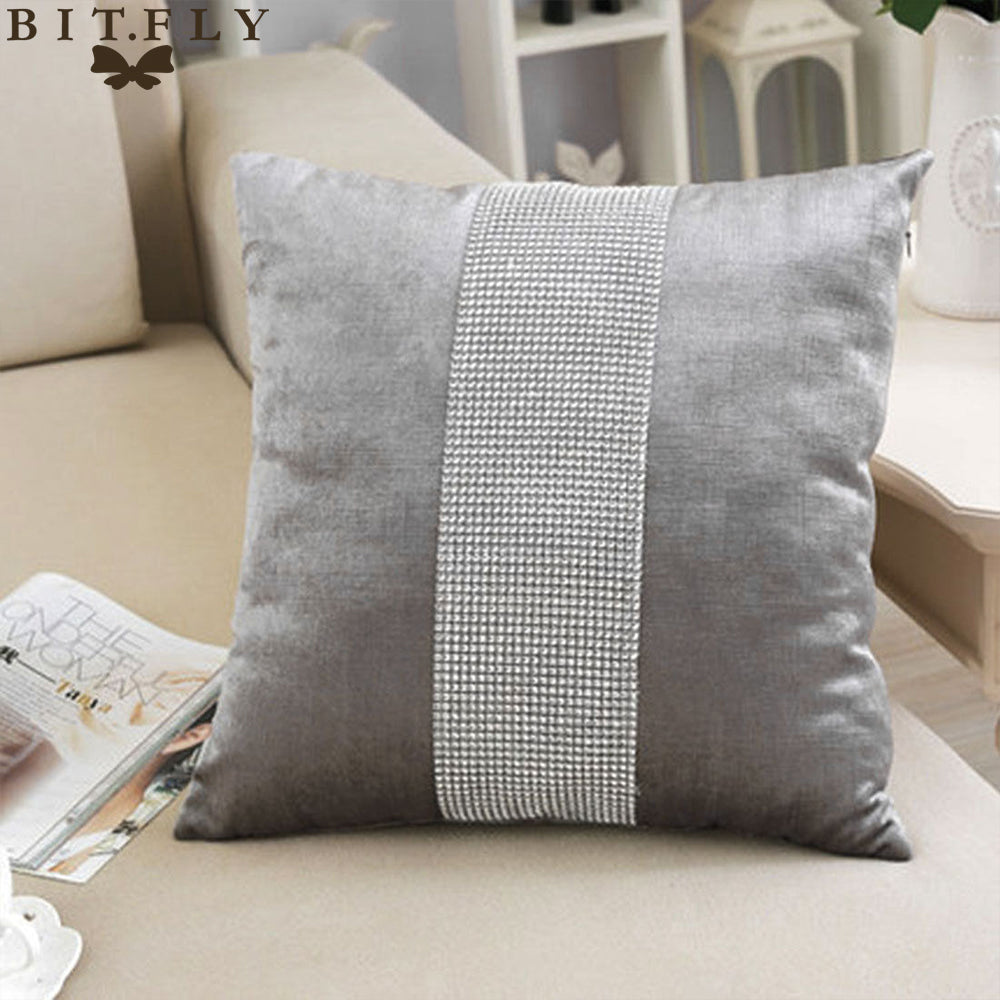 Diamond Fabric Gray Decorative Pillow Case - Hansel & Gretel Home Decor