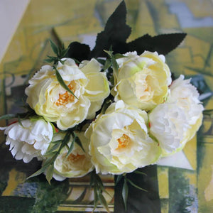 White Artificial Flowers Peony Bouquet - Hansel & Gretel Home Decor