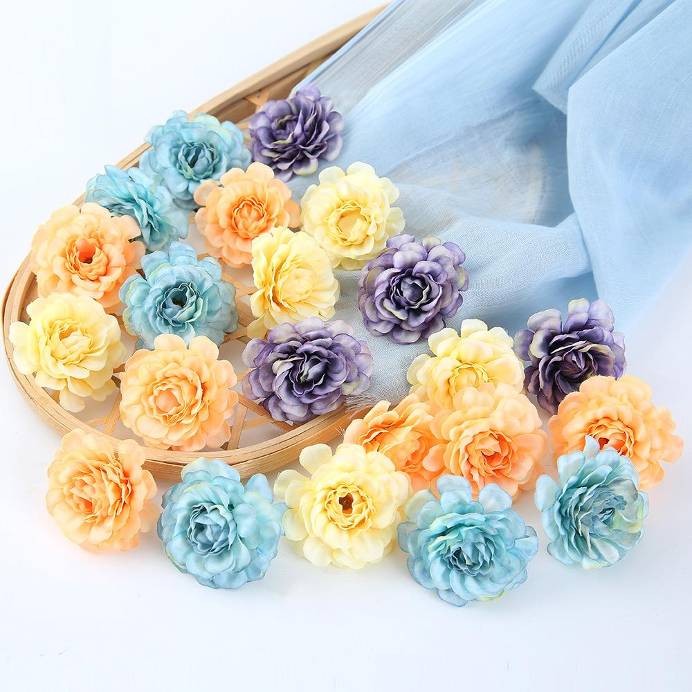 Champagne Artificial Flowers Spring Rose Head