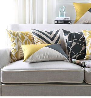 Fashionable Yellow and White Decorative Pillow Case - Hansel & Gretel Home Decor