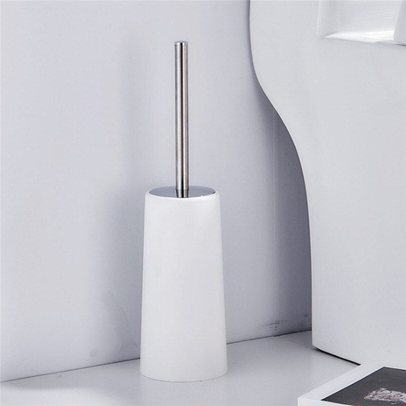 Cylinder Hard Plastic White Toilet Brush Holder