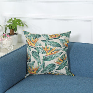 Tropical Green and Orange Decorative Pillow Case