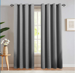 Gray Cotton Polyester Living Room and Bedroom Curtains - Hansel & Gretel Home Decor