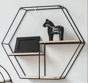Metal Wooden Black Shelf