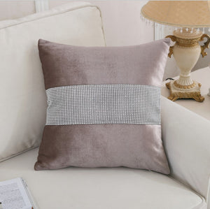 Diamond Fabric Brown Decorative Pillow Case