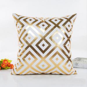 Elegant White and Gold Decorative Pillow Covers - Hansel & Gretel Home Decor