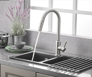Stainless Steel Brushed Nickel Kitchen Faucet Touch Sensor and Pull Out