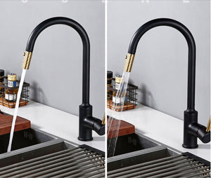 Stainless Steel Black and Gold Kitchen Faucet Touch Sensor and Pull Out