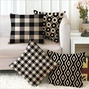 Simple Patterned Black and White Decorative Pillow Case