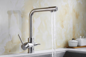 Brass Silver Kitchen Faucet Rotating and Water Purifying