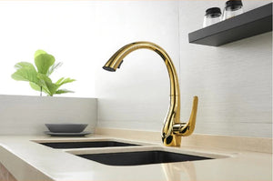 Brass Gold Kitchen Faucet Pull Out and Rotatable