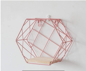 Metal Wooden Small Pink Shelf